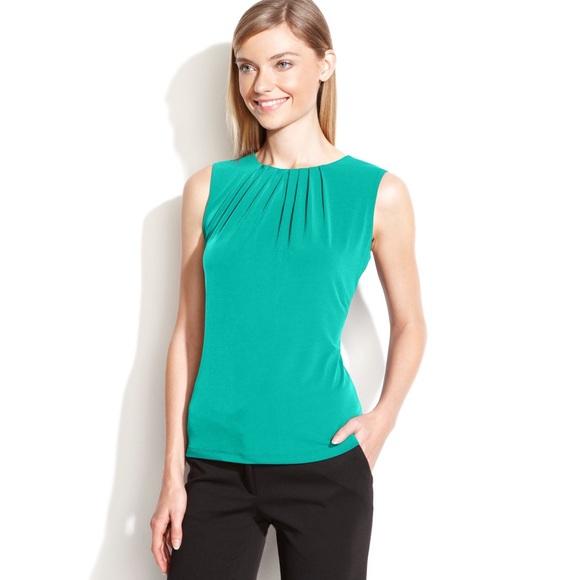 56d6d77046b087 Calvin Klein Tops - Calvin Klein Green Sleeveless Pleated Neck Blouse